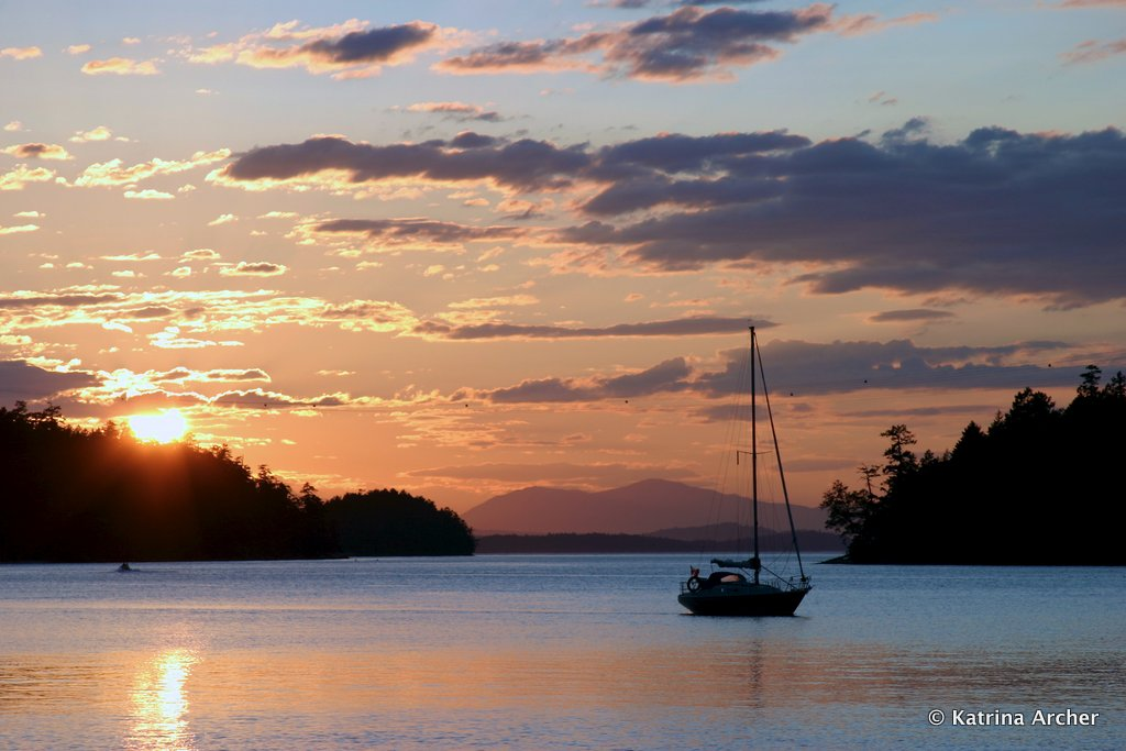 Sailboat at Sunset - Montague Harbour, Galiano Island