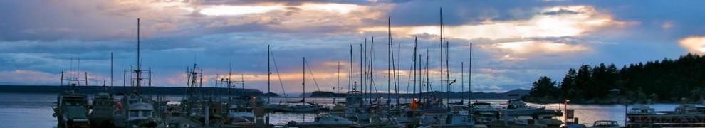 Marina at sunset - Lund, Strait of Georgia